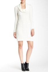 A. Byer Long Sleeve Cowl Neck Sweater Dress White