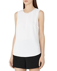 Reiss Acorn Trimmed Sleeveless Top Off White