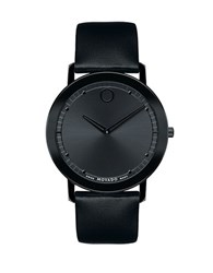 Movado Sapphire Black Pvd Stainless Steel Black Leather Strap Watch
