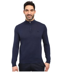 Lacoste Classic 1 4 Zip Jersey Sweater Midnight Blue Chine Silver Chine Men's Sweater Navy