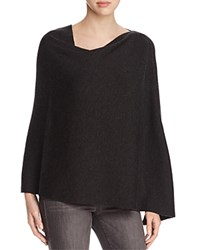 Eileen Fisher Ribbed Asymmetric Merino Wool Poncho Charcoal