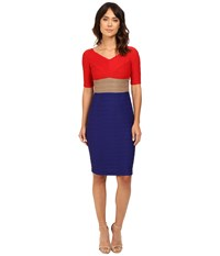 Nue By Shani Tri Color Blocking Dress Worn Off The Shoudlers Red Indigo Women's Dress Multi