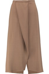 Brunello Cucinelli Wrap Effect Wool Blend Crepe Midi Skirt Sand