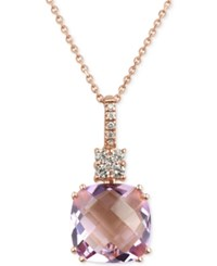 Macy's Rose Amethyst 6 Ct. T.W. And Diamond 1 5 Ct. T.W. Pendant Necklace In 14K Rose Gold
