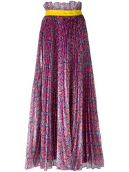 Daizy Shely Floral Print Pleated Skirt Pink Purple