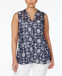 Charter Club Plus Size Floral Lace Button Down Blouse Only At Macy's Intrepid Blue Combo