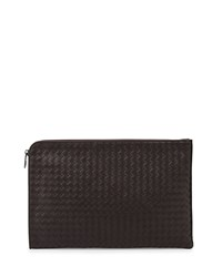 Woven Leather Portfolio Case Brown Bottega Veneta