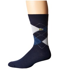 Lacoste Argyle Sock Navy Blue Philippines Blue Menhir Grey White Men's Quarter Length Socks Shoes