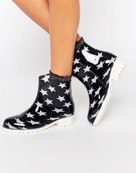 Glamorous Star Print Wellington Boots Black Star