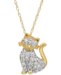 Macy's Diamond Kitty Cat Pendant Necklace 1 10 Ct. T.W. In 10K Gold Yellow Gold