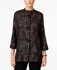 Jm Collection Petite Three Quarter Sleeve Boucle Jacket Only At Macy's Geo Leopard