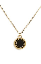 Women's Marc Jacobs Enamel Logo Pendant Necklace Black Gold