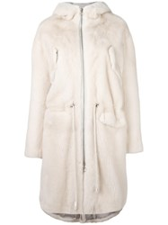 Sprung Freres Fur Hooded Parka Coat White
