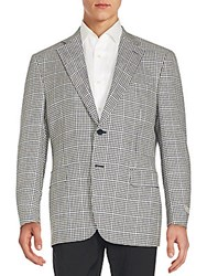 Canali Checkered Wool And Silk Blazer Navy