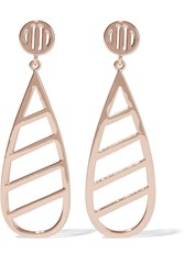 Arme De L'amour Rose Gold Plated Drop Earrings Metallic