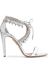 Aquazzura Milla Crystal Embellished Metallic Leather Sandals