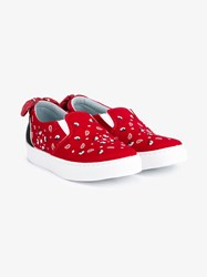 Chiara Ferragni Bandana Print Satin Slip On Sneakers Red White Multi Coloured Black