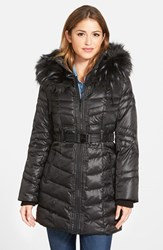Women's Kensie Belted Down And Feather Fill Coat With Faux Fur Trim Black