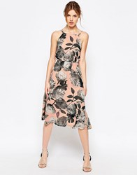 Yumi Uttam Boutique Cherry Blossom Strappy Halter Dress Nude Pink