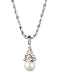 Givenchy Silver Tone Crystal And Glass Pearl Pendant Necklace
