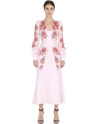 Francesco Scognamiglio Printed And Embellished Silk Twill Dress