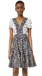 J. Mendel V Neck Dress With Paneled Skirt Ivoire Noir