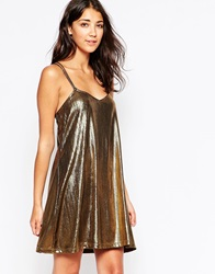 Motel Swallowtail Dress In Metallic Fabric Gold