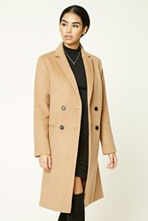 Forever 21 Double Breasted Wool Blend Coat Camel