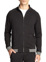 Saks Fifth Avenue Cotton Zip Up Sweatshirt Black