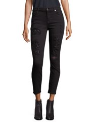 7 For All Mankind Distressed Sequin Skinny Jeans Black Distressed