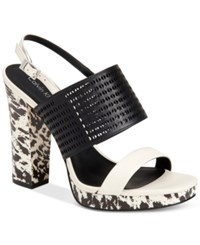 Calvin Klein Women's Breannie Slingback Platform Sandals Women's Shoes Black Soft White