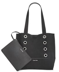 Calvin Klein Grommet Suede Reversible Tote With Pouch Black