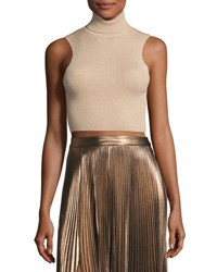 A.L.C. Presley Sleeveless Ribbed Metallic Crop Top Bisque Gold Bisque Gold