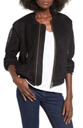 4Si3nna Women's Faux Suede And Mesh Bomber Jacket