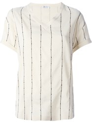 Brunello Cucinelli Striped V Neck T Shirt Nude And Neutrals