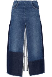Tome Patchwork Distressed Denim Maxi Skirt Mid Denim