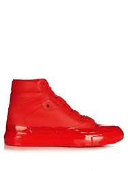 Balenciaga Dipping Effect High Top Leather Trainers Red