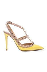 Valentino Rockstud Patent Slingbacks T.100 In Yellow