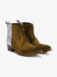 Golden Goose Metallic Suede Ankle Boots Brown Multi Coloured Metallic Silver Tan Golde