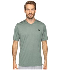 The North Face Reactor Short Sleeve V Neck Duck Green Heather Men's Clothing Blue