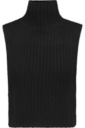 Autumn Cashmere Cropped Knitted Turtleneck Top Black