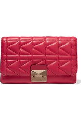 Karl Lagerfeld Quilted Leather Clutch Pink