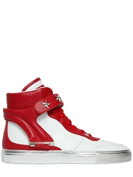 D S De Star Studs On Leather High Top Sneakers White Red