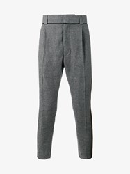 Haider Ackermann Virgin Wool Houndstooth Dropped Crotch Trousers Black White Khaki Mandarin