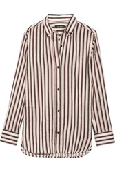 Isabel Marant Striped Ramie And Silk Blend Shirt White