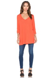 Michael Lauren Dylan 3 4 V Neck Draped Tee Orange