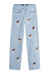 Karl Lagerfeld Cropped Jeans With Choupette Print Blue