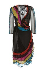 Rossella Jardini Ruffled Embroidered Cache Coeur Dress Black Red Yellow
