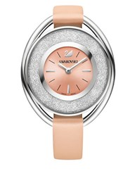 Swarovski Crystalline Oval Stainless Steel Leather Strap Watch Pink