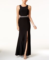 Xscape Evenings Illusion Cutout Embellished Halter Gown Black